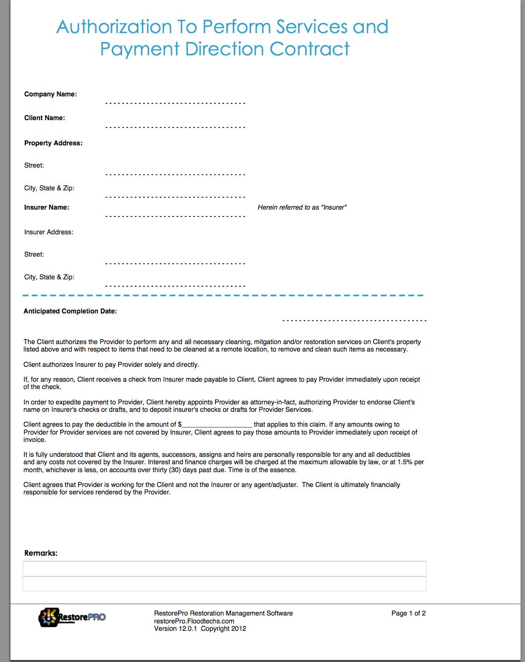 Damage Restoration Water Damage Restoration Forms - Water damage restoration invoice